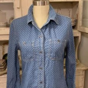 Seven7 Chambray Button Down Top 3/4 Sleeve Sz S